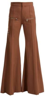 Chloé Serge High Rise Wool Blend Trousers - Womens - Light Brown