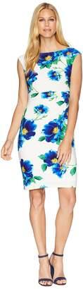 Lauren Ralph Lauren B585 Chrome Floral Novellina Cap Sleeve Day Dress Women's Dress