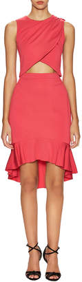 Nicole Miller New Stretch Crepe Cut Out Ruffle Dress