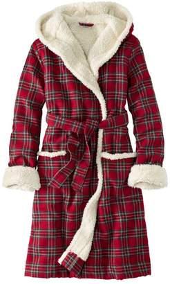 L.L. Bean L.L.Bean Women's Scotch Plaid Flannel Robe, Sherpa-Lined