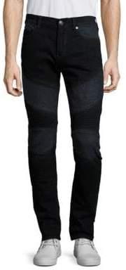True Religion Men's Rocco Rebel Skinny-Fit Moto Jeans - Black - Size 36