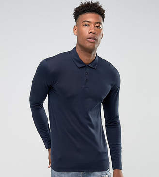 Selected TALL Slim Long Sleeve Polo In Mercerised Cotton