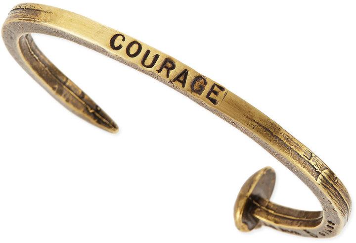 Giles & Brother Engraved Skinny Railroad Spike Bracelet, Brassy