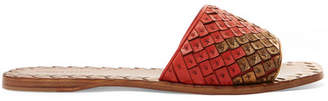 Bottega Veneta Two-tone Intrecciato Leather Slides - Red