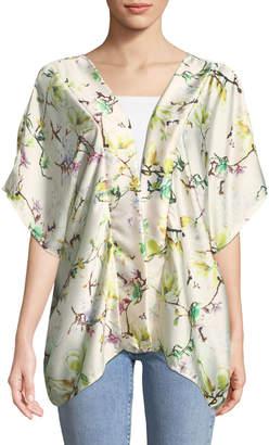 Neiman Marcus Cherry-Blossom Charmeuse Kimono