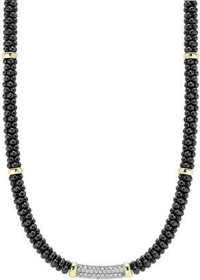 Lagos 'Black Caviar' 5mm Beaded Diamond Bar Necklace