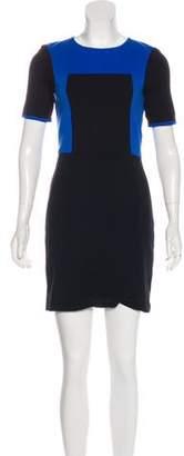 Tibi Colorblock Short Sleeve Mini Dress