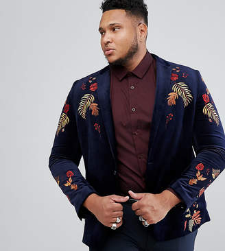 Asos DESIGN PLUS Skinny Blazer In Navy Velvet With Embroidery