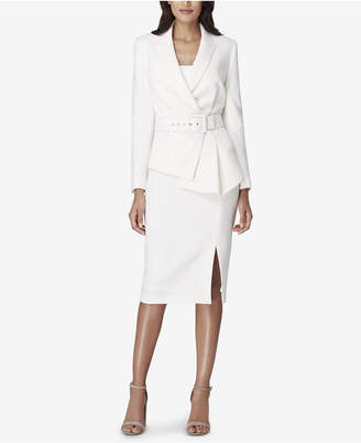 Tahari ASL Asymmetrical-Peplum Belted Skirt Suit