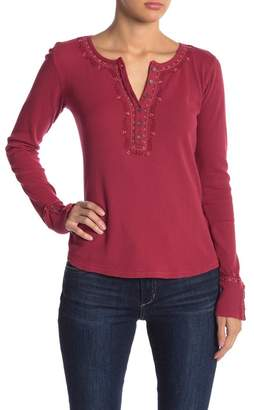 Lucky Brand Long Sleeve Embroidered Henley