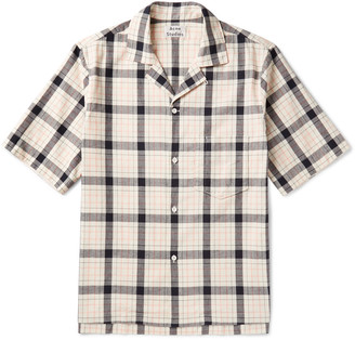Acne Studios Elm Camp-Collar Checked Cotton Shirt $280 thestylecure.com