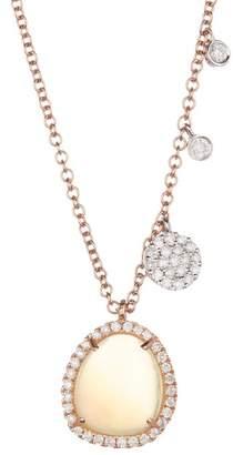 Meira T 14K Rose Gold Opal & Diamond Charm Necklace - 0.28 ctw