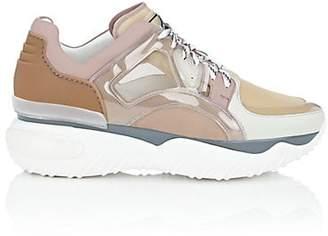 Fendi Men's Nylon & Leather Sneakers - Beige, Tan