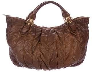 Miu Miu Matelassé Leather Satchel Brown Matelassé Leather Satchel