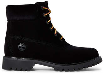 Timberland Off White X Black Velvet Ankle Boots