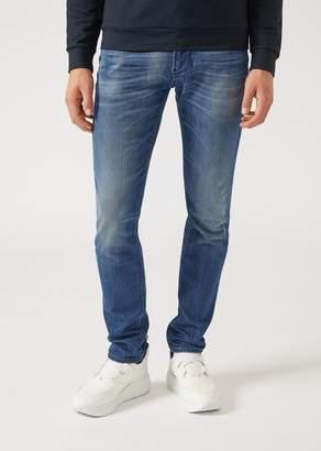 Emporio Armani J06 Slim-Fit Jeans In Stone Washed Denim