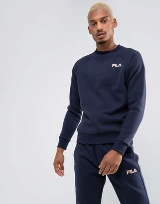 Fila Black Sweatshirt Small Retro Logo In Navy