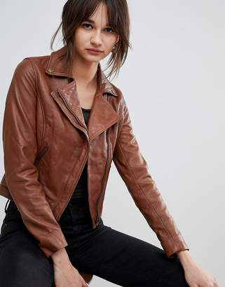 Barney's Originals Leather Biker Jacket with Diagonal Zip Detail