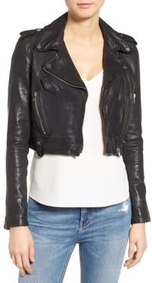 Moto LAMARQUE Washed Leather Crop Jacket