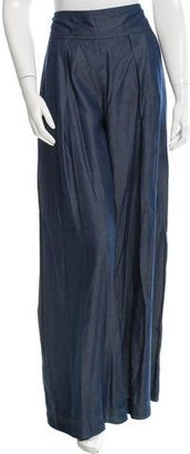 Nicole Miller Wide-Leg Chambray Pants w/ Tags $95 thestylecure.com