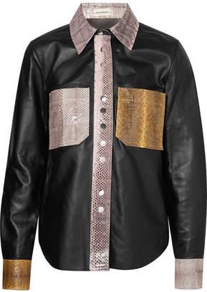 By Malene Birger Estasa Watersnake-trimmed Leather Shirt - Black
