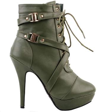 story. Show Buckle Strappy High Heel Stiletto Platform Ankle Boots,LF30470BR39,8US