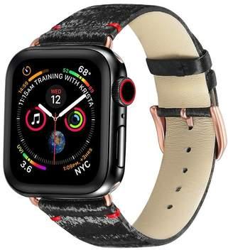 POSH TECH Black/Rose Gold Silk & Leather 38mm Apple Watch 1/2/3/4 Band