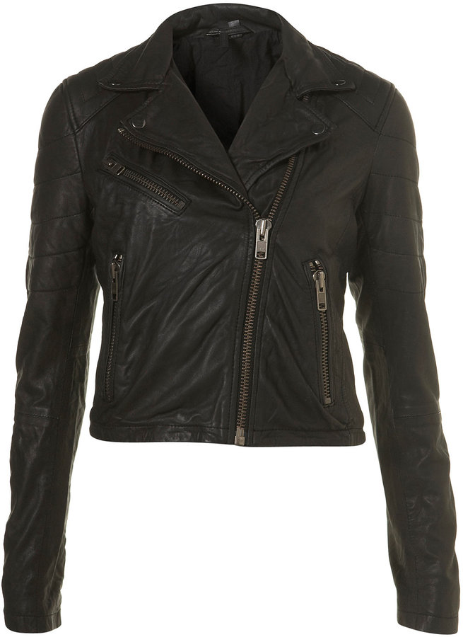 Quilted Leather Biker Jacket By Boutique