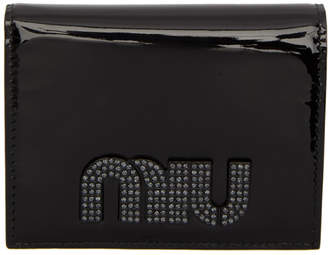 Miu Miu Black Patent Crystal Logo Wallet