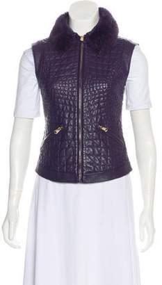 Versace Fur-Trimmed Leather Vest