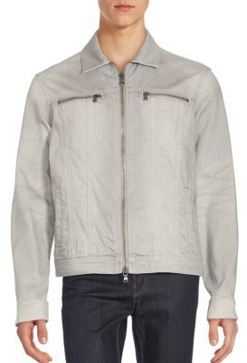 Collared Cotton Blend Denim Jacket $398 thestylecure.com