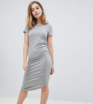 Noisy May Petite Asymetric Ruched Jersey Midi Dress