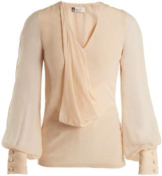 Lanvin V-neck draped-front silk blouse