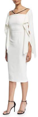 Roland Mouret Fenland Flutter-Sleeve Crepe Midi Dress