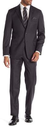Hickey Freeman Charcoal Box Check Two Button Notch Lapel Wool Classic Fit Suit