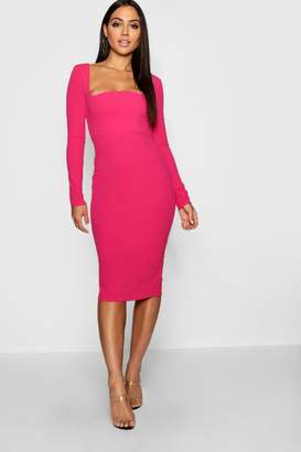boohoo Curved Neckline Fitted Midi Dress