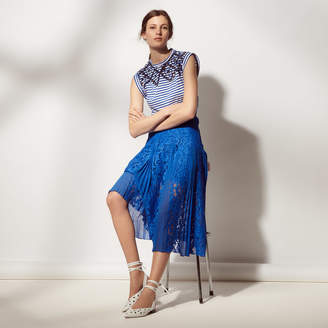 Sandro Long pleated skirt with lace