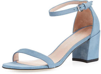 Stuart Weitzman Simple Suede Chunky-Heel City Sandal $398 thestylecure.com