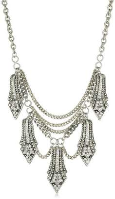 Yochi Silver-Plated Crystal Overlay Shape Necklace