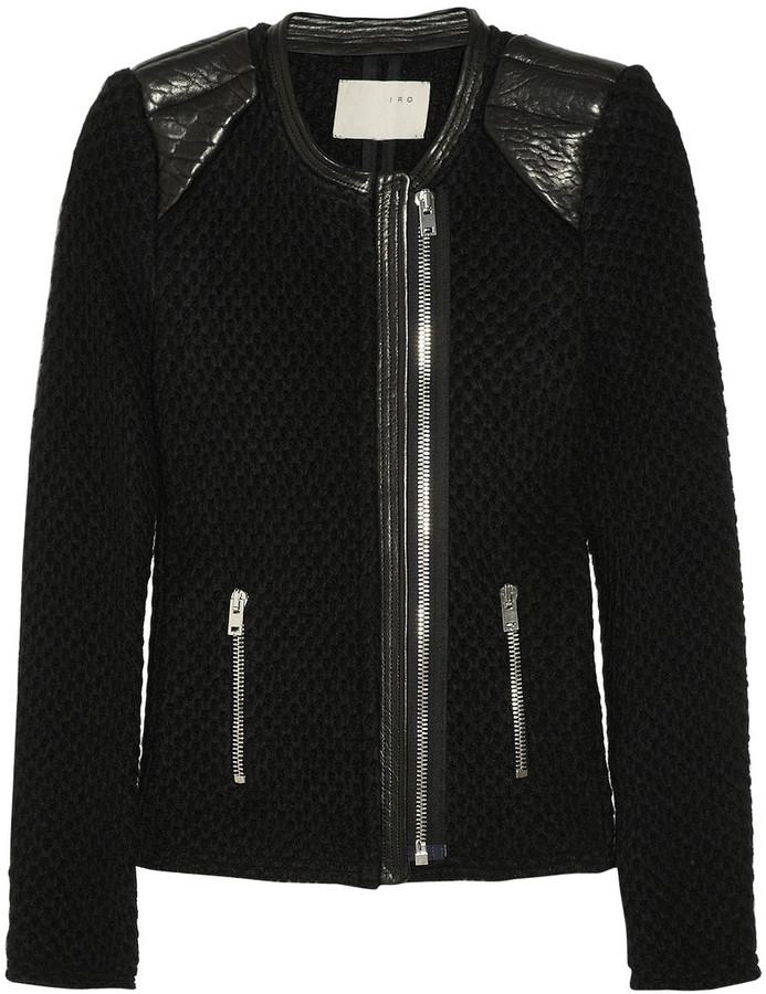 IRO Natasha leather-trimmed chunky-knit wool biker jacket