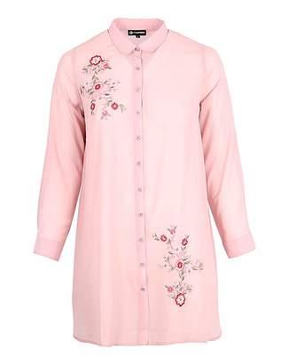 Koko Pink Embroidered Longline Shirt