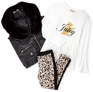 Juicy Couture Girls 4-6x) 3-Piece Faux Leather Vest & Leggings Set