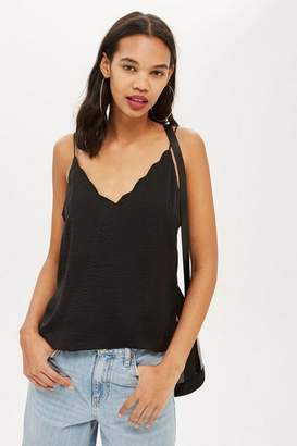 Topshop Satin Scallop Camisole Top
