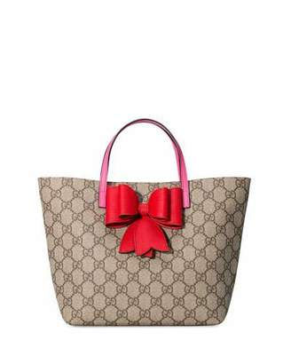 Gucci Girls' GG Supreme Canvas Tote Bag, Beige $580 thestylecure.com