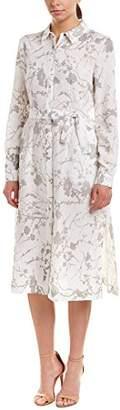 T Tahari Women's Millie Metallic Foil Linen Button Down Shirt Dress