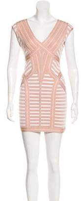 Herve Leger Striped A-Line Dress