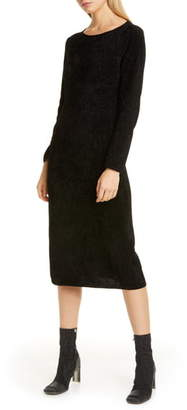 Comme des Garcons Metallic Chenille Long Sleeve Midi Sweater Dress