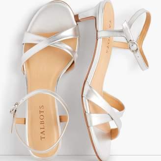 b367026a096 Talbots Pila Criss-Cross Leather Sandals - Metallic