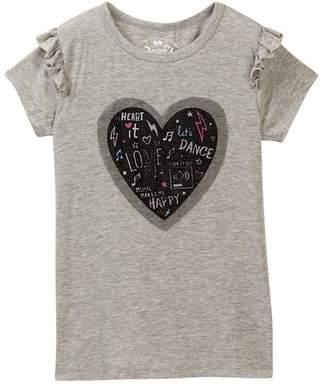 Poof Dance Print Applique Ruffle Sleeve Top (Big Girls)