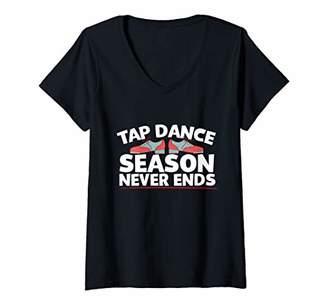 Womens Tap Dance Season Never Ends V-Neck T-Shirt